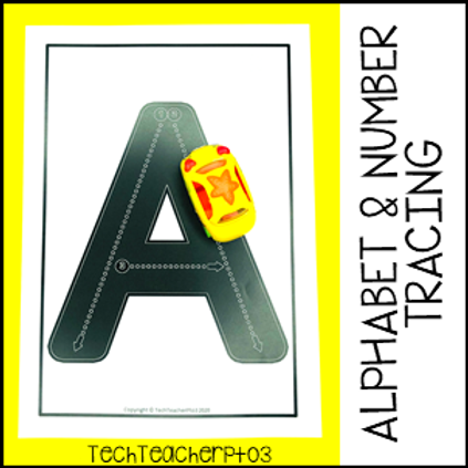 Alphabet and Number Road Tracing Mats