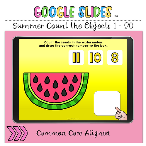 Summer Count the Objects 1 to 20 Google Slides™ Activity