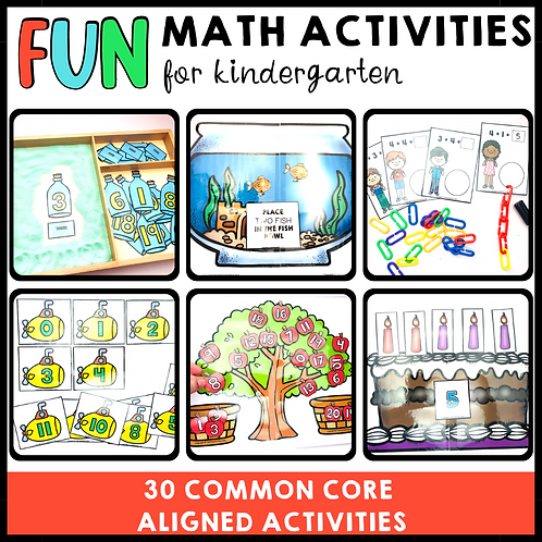 Fun math activities for kindergarten aligned to Common Core
