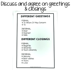 Discuss and agree on greetings and closings.