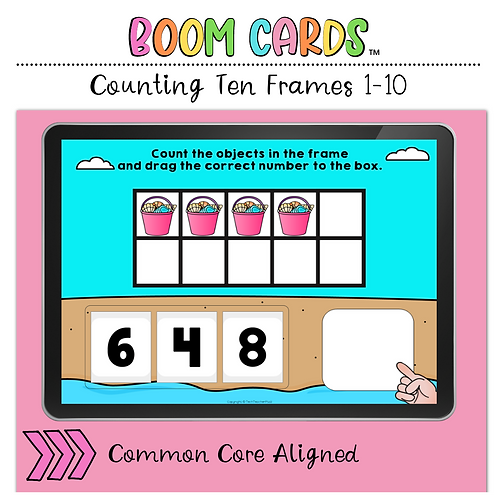 Counting Ten Frames 1 to 10 BOOM LEARNING CARDS Activity