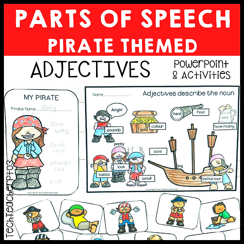 Parts of Speech Pirate Adjectives Grammar Activities