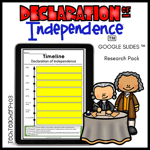 Declaration of Independence Activities Google Slides ™