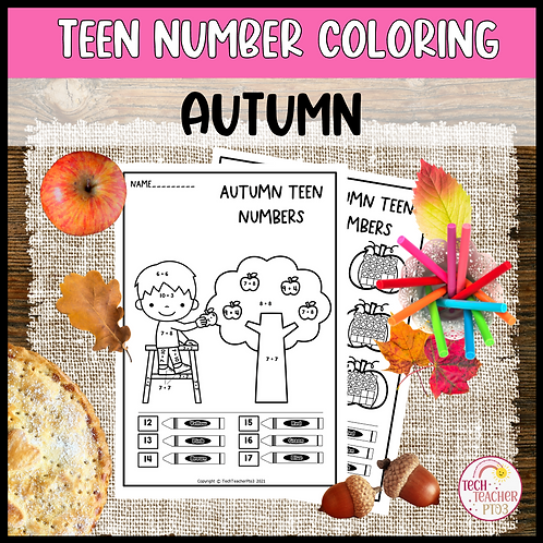 Teen Number Colouring Worksheets Autumn Ten Frames Tally Marks Addition