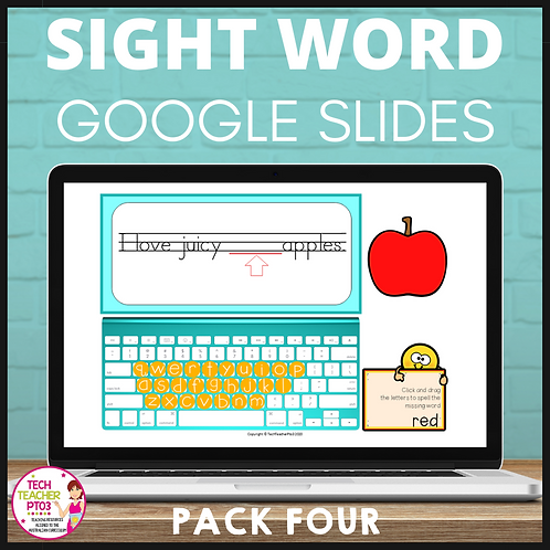 Sight Word Activities for Google Slides Pack Four Interactive Distance Learning