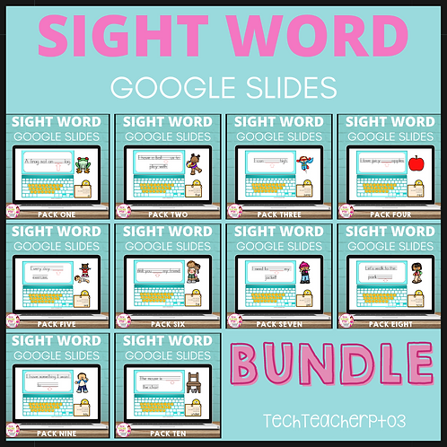 20% OFF Sight Word Activities Google Slides Bundle
