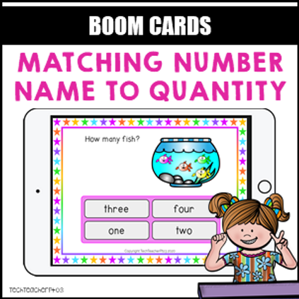 Matching Number Name to Quantity BOOM LEARNING CARDS Activity