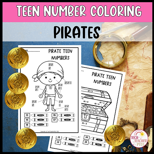 Teen Number Colouring Worksheets Pirate Ten Frames Tally Marks Addition