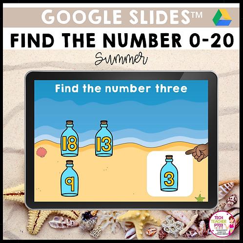Find the Number 0-20 Summer Google Slides™ Activity