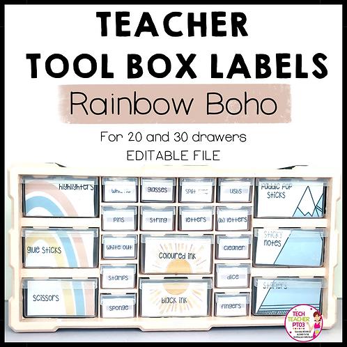 Boho Rainbow Teacher Tool Box Labels Editable