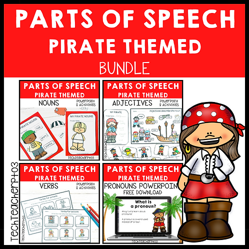 20% OFF Parts of Speech Pirate Bundle Grammar Activities
