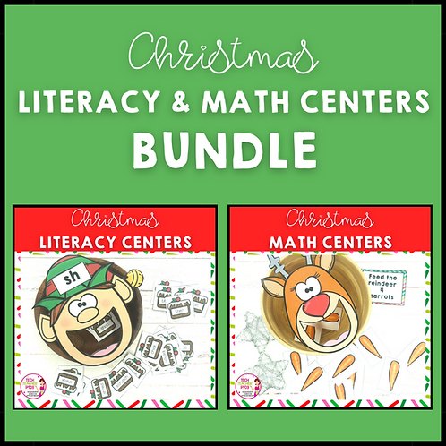 20% OFF Christmas Literacy and Math Centers