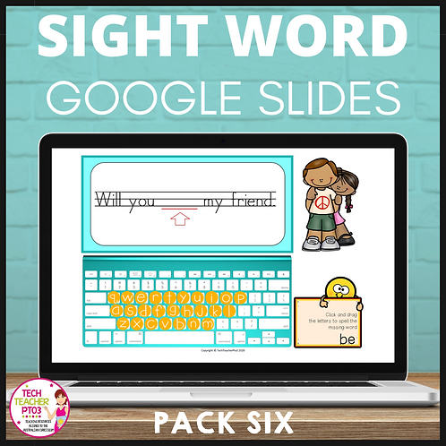Sight Word Activities for Google Slides Pack Six Interactive Distance Learning