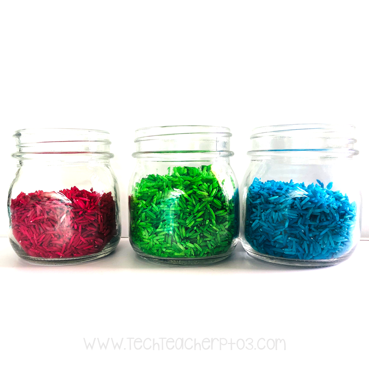 Easy to make rainbow coloured rice activities for sensory play.
