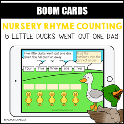 Nursery Rhyme Counting 5 Little Ducks BOOM LEARNING CARDS Activity