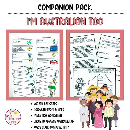 I'm Australian Too by Mem Fox Activity Pack