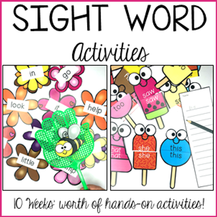 Sight Word Practice - Pre-Primer and Primer Activities