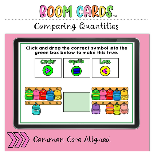 Comparing Quantities BOOM LEARNING CARDS Activity