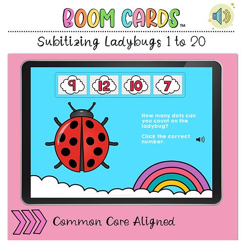 Subitizing Ladybugs BOOM LEARNING CARDS Activity