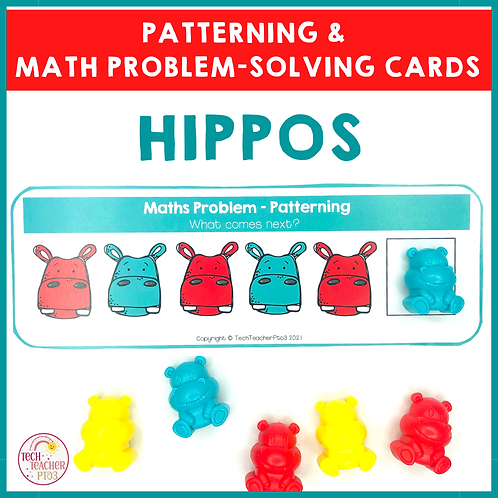 Hippo Patterning and Math Problem Solving Cards