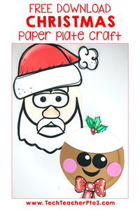 Free Christmas Craft for paper plates that is easy for kinder students to do. Download the templates for santa and pudding here.