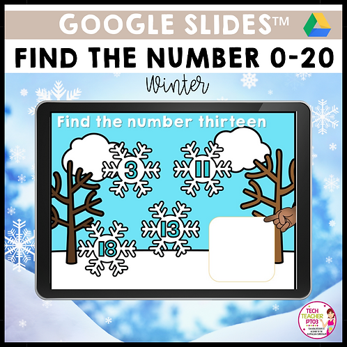 Find the Number 0-20 Winter Google Slides™ Activity