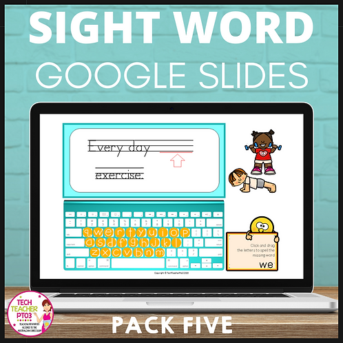 Sight Word Activities for Google Slides Pack Five Interactive Distance Learning