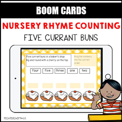 Nursery Rhyme Counting 5 Currant Buns BOOM LEARNING CARDS Activity