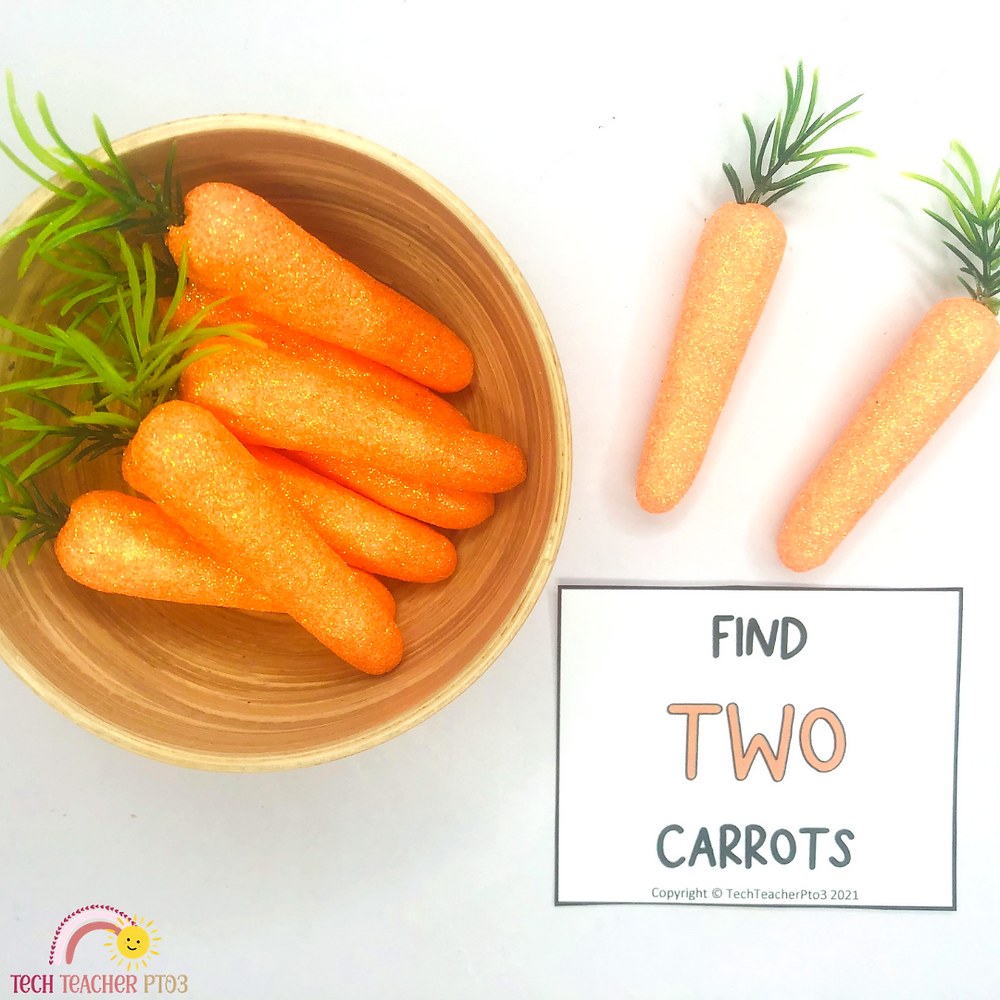 Counting carrots in a maths game for kindergarten