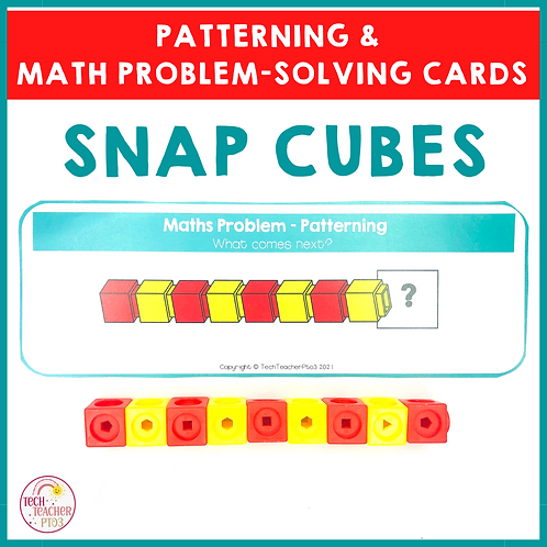 Snap Cubes Patterning and Math Problem Solving Cards