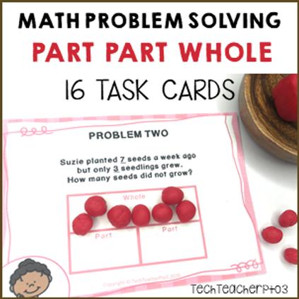 Math Problem Solving Task Cards Part Part Whole