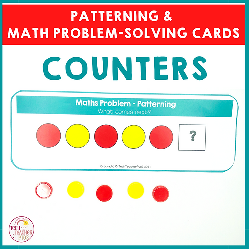 Counters Patterning and Math Problem Solving Cards