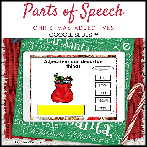 Parts of Speech Christmas Adjectives Google Slides ™ Distance Learning