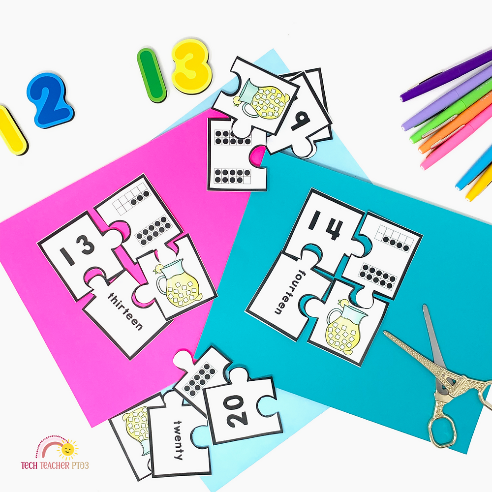 Fun with teen numbers activity for kindergarten and first grade math