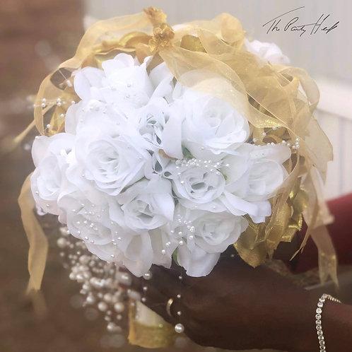 White,Gold and Ivory Custom Wedding Bouquet
