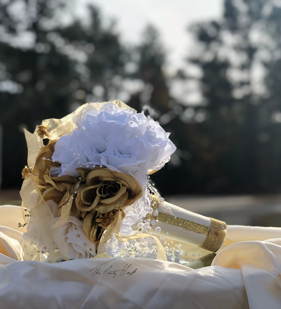 white, gold and ivory wedding bouquet .j