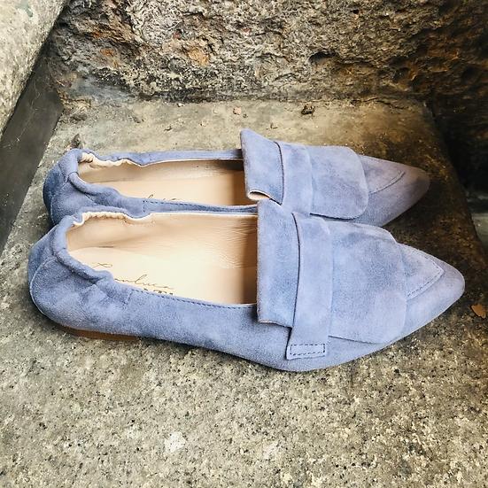 Bequemer Rauleder Ballerina-Style, Jeansblau