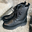 Thumbnail: Hirschleder-Schnürstiefelette in schwarz