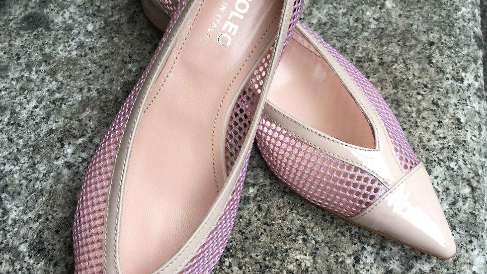 Lackleder Ballerina mit Netzeinsatz in rosé