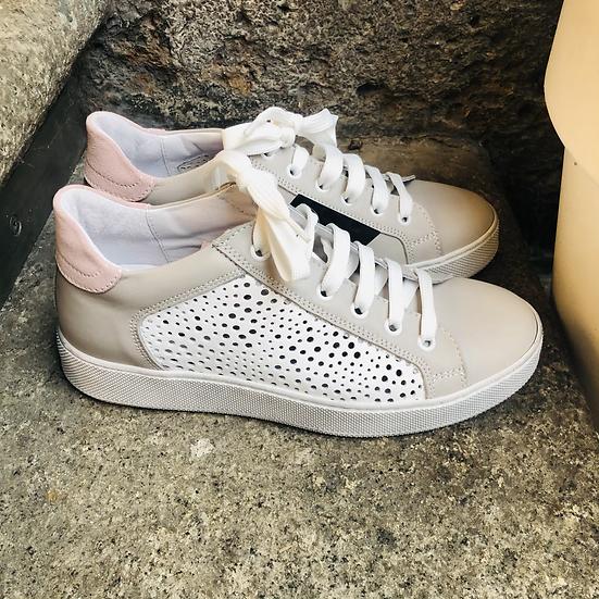 Leder  Sneaker  in hell Grau /weiß /Rosé
