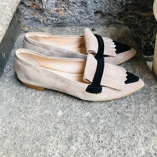 Rauleder Ballerina-Style, taupe-schwarz