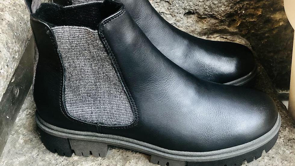 Schwarze Nappa-Leder Stieflette mit graue-schwarze Sohle
