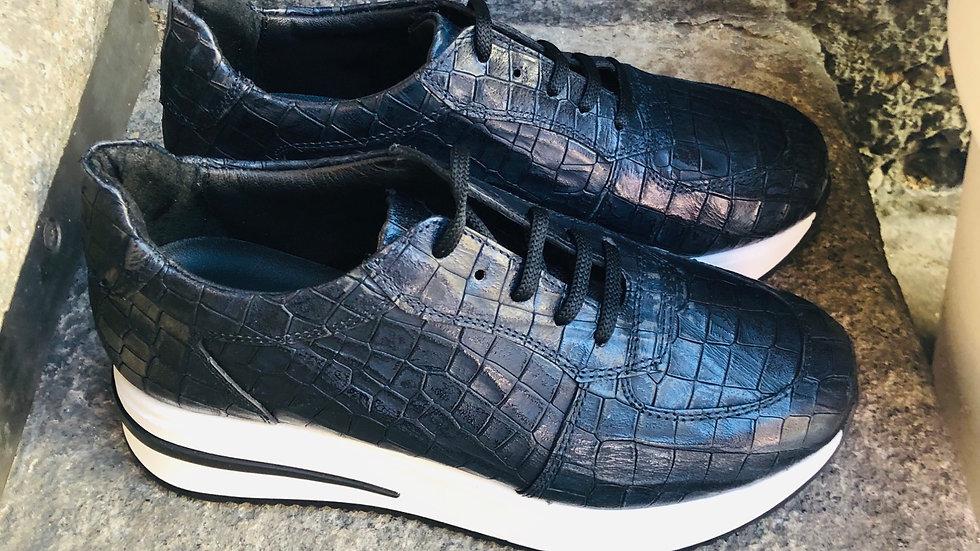Krokodil-Leder-Optik Sneaker Dunkelblau