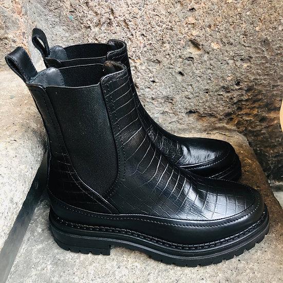 Coole Krokodilleder-Optik Stiefelette, schwarz