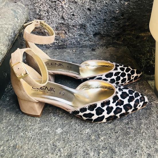 Beige - Leopard Optik ( echtes Fell)  Ballerina - Art