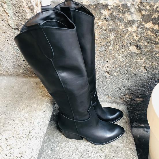 Glattleder Cowboy Stiefel in schwarz
