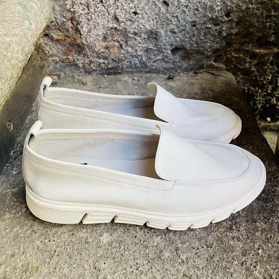 Weisses Leder Slipper