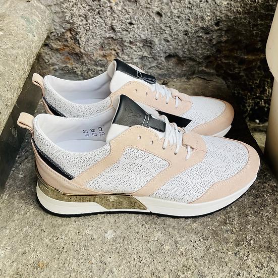 Leder  Sneaker  in hell Rosa/weiß