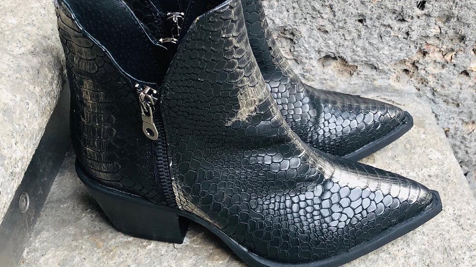 Leder Stieflette Cowboy Anaconda Optik