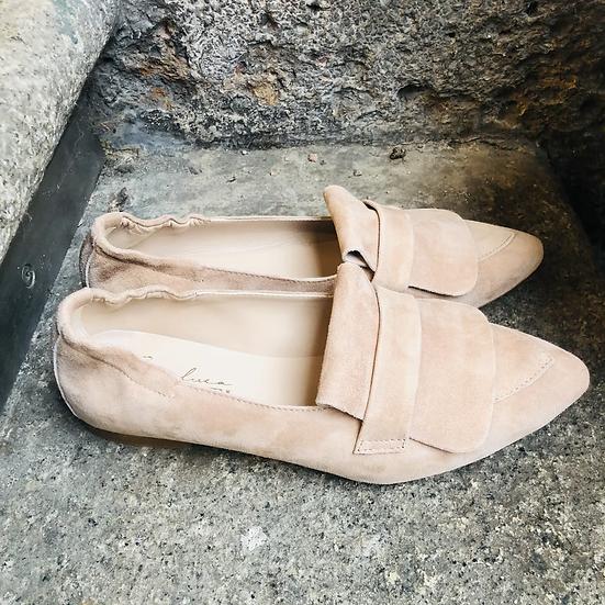 Bequemer Rauleder Ballerina-Style, Rosé